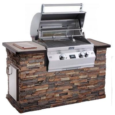 Fire Magic Aurora A430 All Infrared Natural Gas Grill In Stack Stone Grill Island With Cocoa Granite Countertop