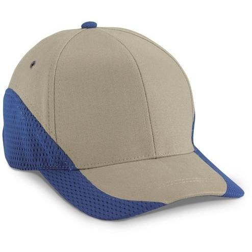 Cobra Caps Brushed Cotton With Contrast Mesh Cap - Khaki / Royal, Discount ID EGM-1008