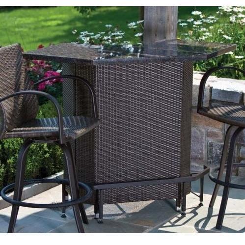 Alfresco Home Vento Outdoor Mezzo Granite Top Wicker Bar Table
