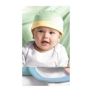 Bella Baby 1x1 Rib Infant Reversible Beanie - Baby Blue/White