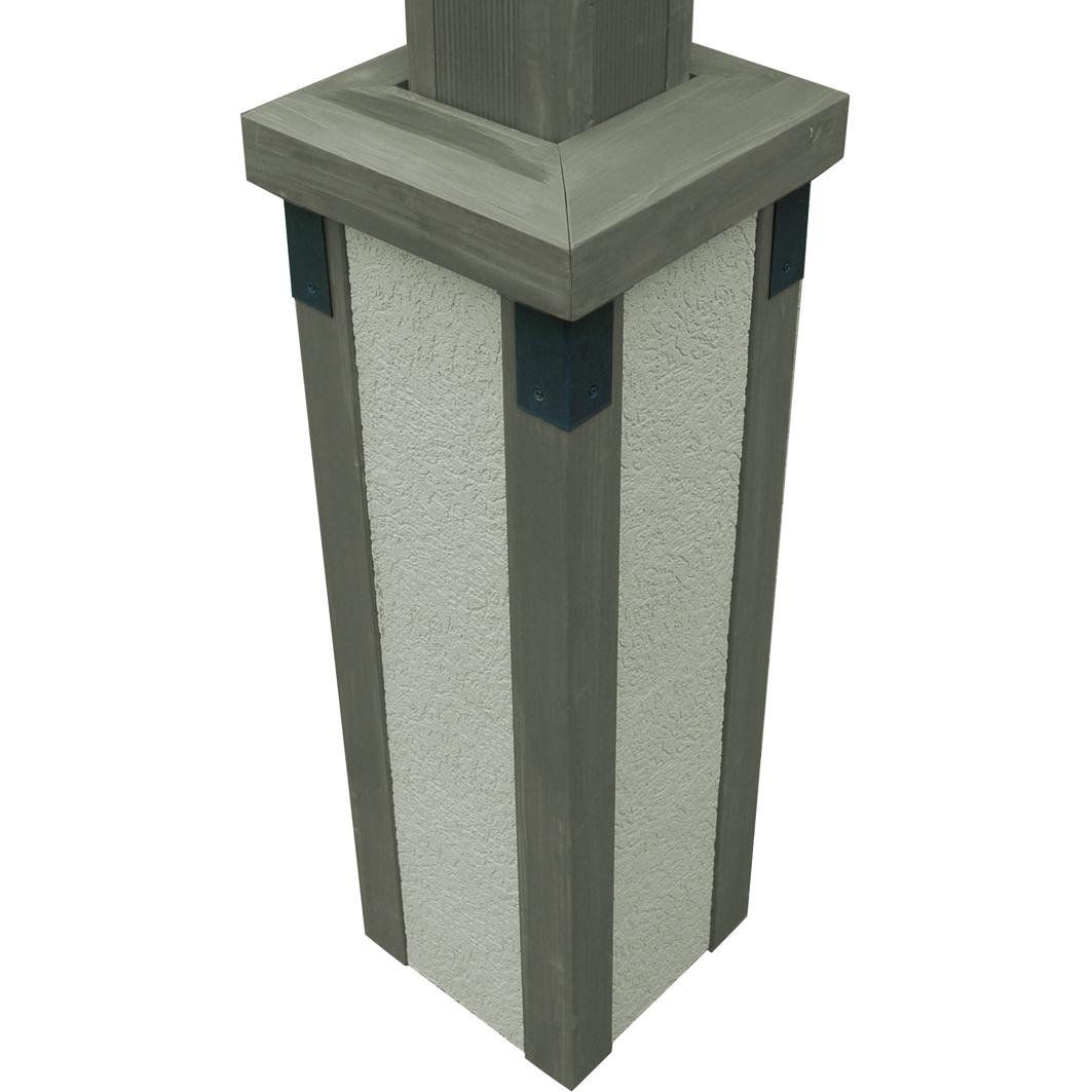 Outdoor GreatRoom Company Stucco Post Bases Pergolas - Grey Finish