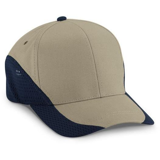 Cobra Caps Brushed Cotton With Contrast Mesh Cap - Khaki / Navy, Discount ID EGM-1011