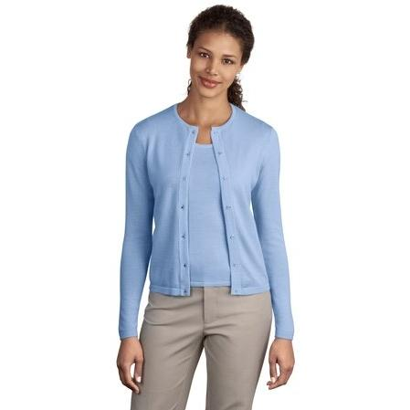 Port Authority Signature Ladies Fine-Gauge Crewneck Cardigan Sweater Large ...