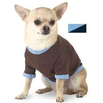 Doggie Skins Ringer T-Shirt Small - Light Blue/Navy