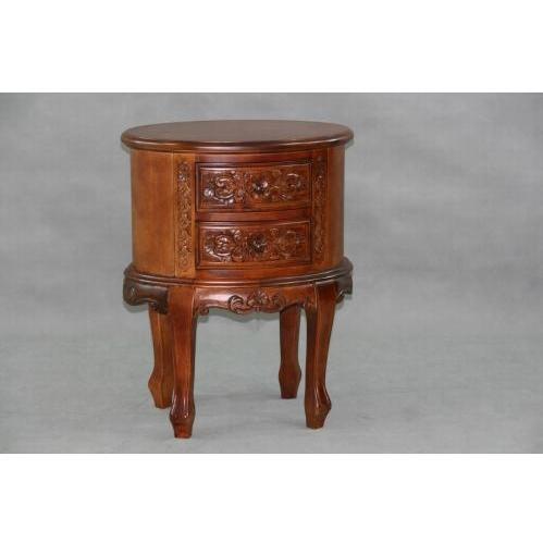 International Caravan Carved Wood Oval Night Stand (KD) - 3869