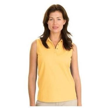 Port Authority Ladies Silk Touch Sleeveless Polo Shirt Medium - Banana