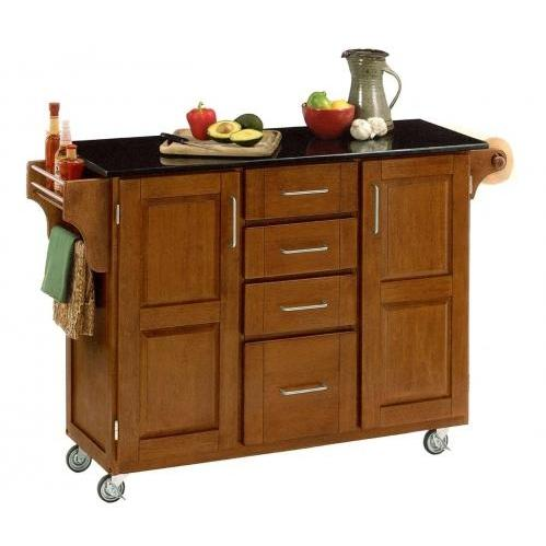 Home Styles Large Kitchen Cart With Granite Top - Black/Cottage Oak - 9100-1064