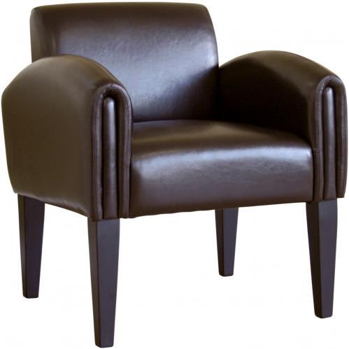 Wynda Leather Accent Chair In Dark Brown.