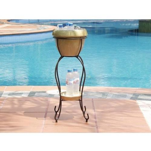 Alfresco Home Duetto Outdoor Beverage Cooler With Shelf And Stand - Antique Cream