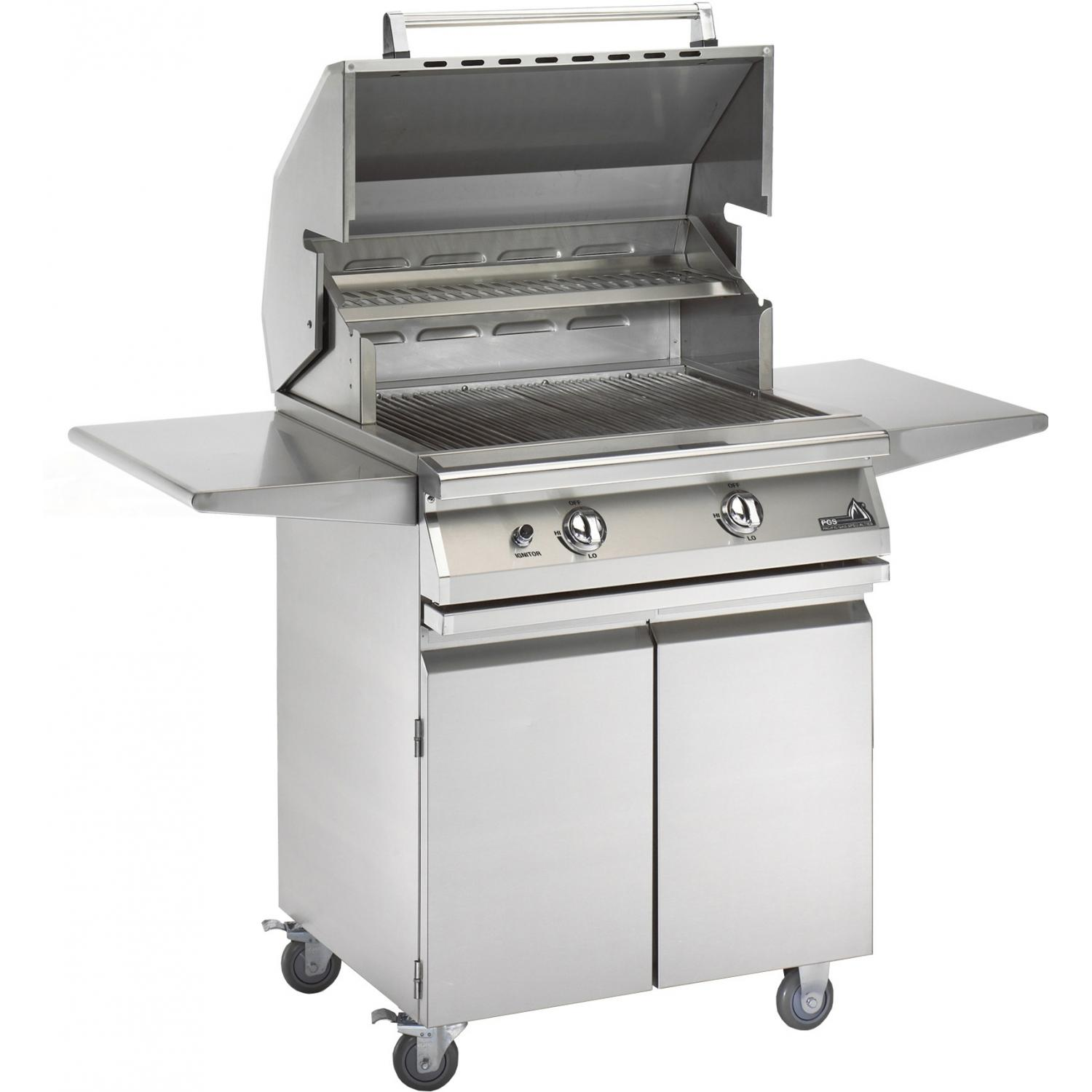 PGS Legacy Newport Gourmet 30-Inch Propane Gas Grill With Infrared Rear Burner And Rotisserie On Cart