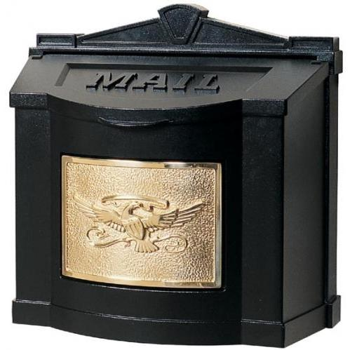 Wall Mount Series Mailbox W/ Eagle Accent - Black W/ Polished Brass