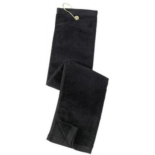 Port Authority Grommeted Tri-Fold Golf Towel - Black