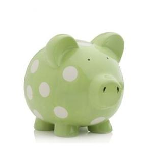 Elegant Baby Classic Piggy Bank - Green/White Dot