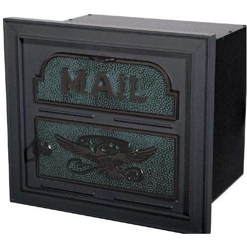 Classic Series High Security Locking Column Mailbox Faceplate - Black W/ Verde Brass