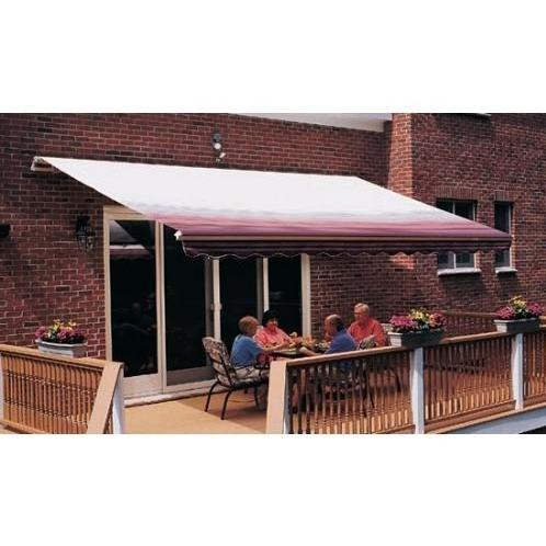 Sunsetter Pro Motorized Awning (11 Ft / Burgundy Stripe) With Traditional Laminated Fabric With Left Mounted Moter And Soffit Bracket