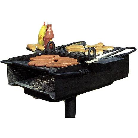 BBQ Guys Campground BBQ Charcoal Grill On Post - C2-36 B2