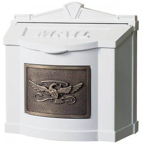 Wall Mount Series Mailbox W/ Eagle Accent - White W/ Antique Bronze