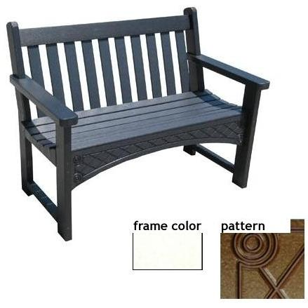 Eagle One Recycled Plastic 4 Foot Heritage Bench Diamond Pattern - White