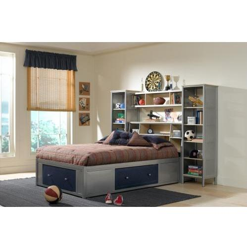 Hillsdale Universal Silver And Navy Youth 4 Piece Storage Platform Bedroom Set With Bookcase Headboard And Wall Storage - Twin - 1178372STGWPS4