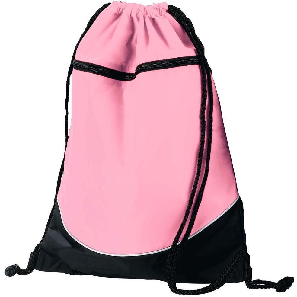 Augusta Tri-color Drawstring Backpack - Light Pink/black