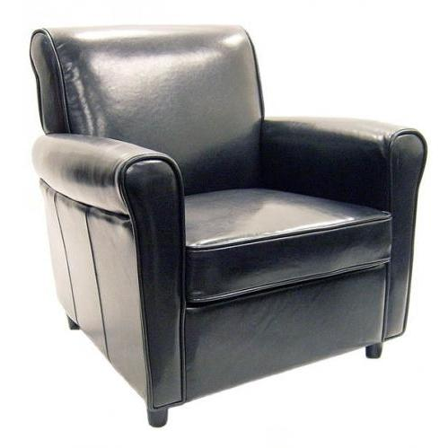 Tier Leather Accent Chair In Black.