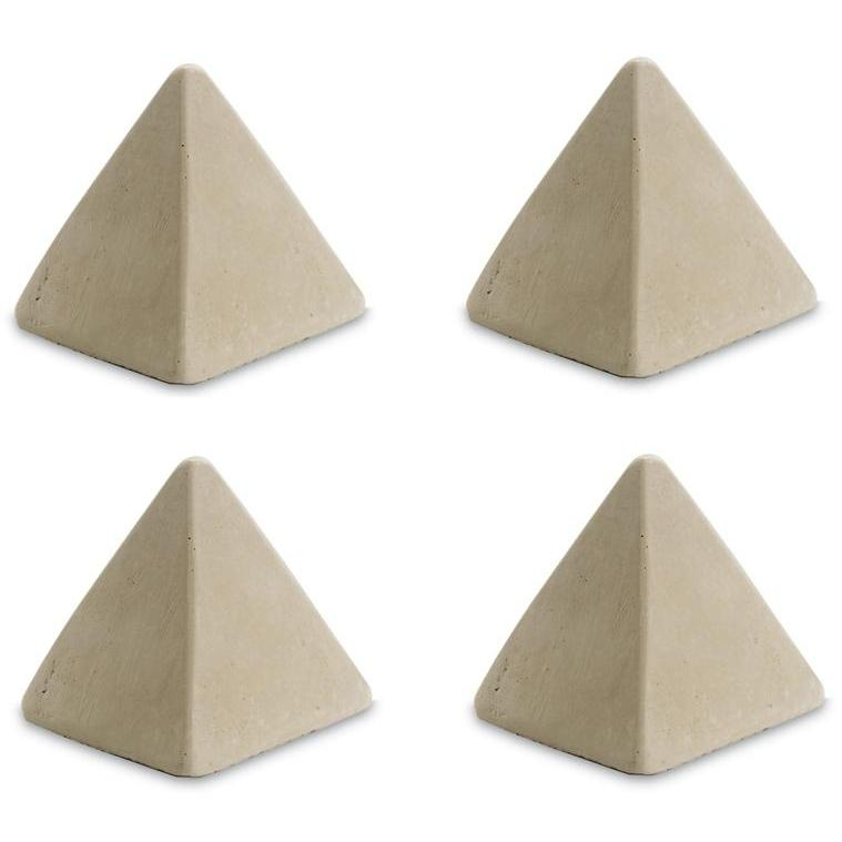 Peterson Gas Logs Decorative Geo Shapes Ivory 4-Sided Pyramid Set - Set Of 4 Large