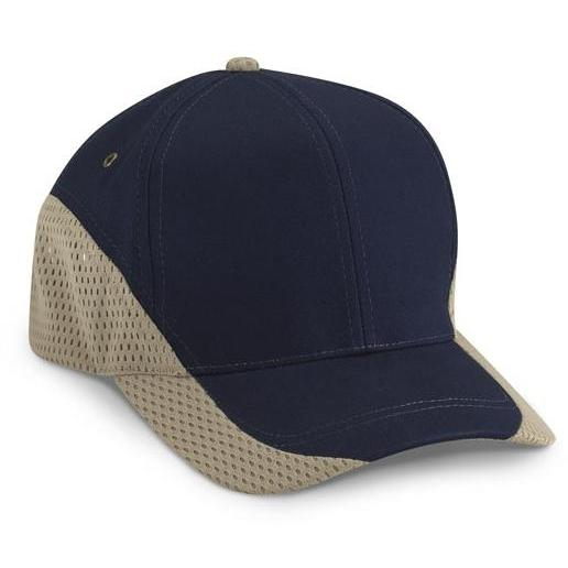 Cobra Caps Brushed Cotton With Contrast Mesh Cap - Navy / Khaki, Discount ID EGM-1003