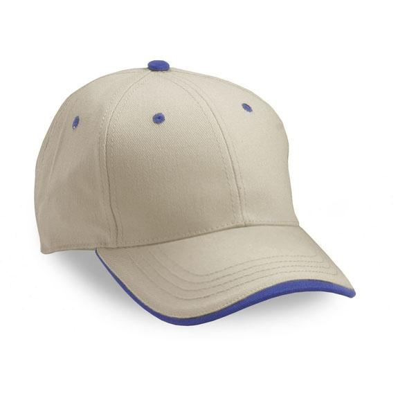 Cobra Caps Heavy Brushed Cotton Twill Cap - Stone / Royal, Discount ID PWS-1003
