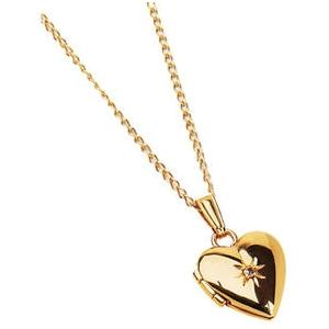 Elegant Baby Infant Gold Heart Locket With Diamond Accent Necklace