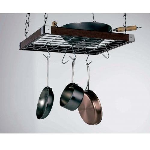 Concept Housewares CP49293 Espresso Wood Square Ceiling Kitchen Rack