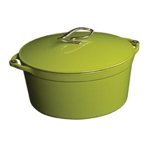 Lodge Dutch Ovens L Series 6 Quart Enamel Cast Iron Dutch Oven, Apple Green - E6D50
