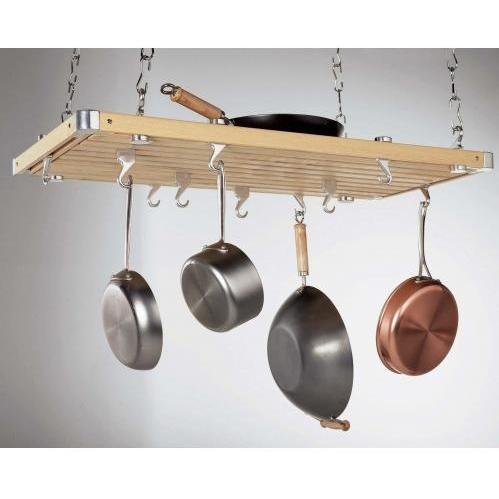Concept Housewares CP40232 Natural Wood Rectangular Ceiling Kitchen Rack