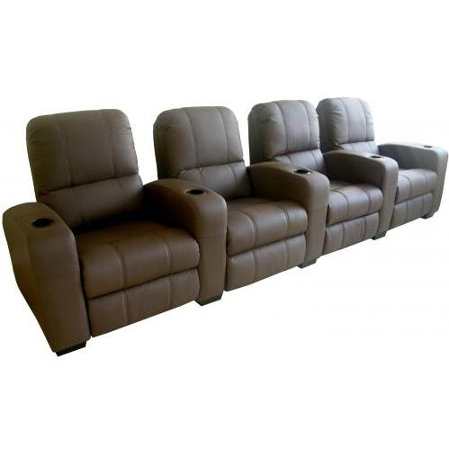 Treacy Leather Home Theater Recliner Set Of Four InBrown