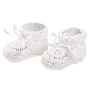 Elegant Baby Crocheted Christening Booties - Newborn