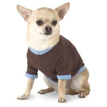 Doggie Skins Ringer T-Shirt Large - Brown/Light Blue