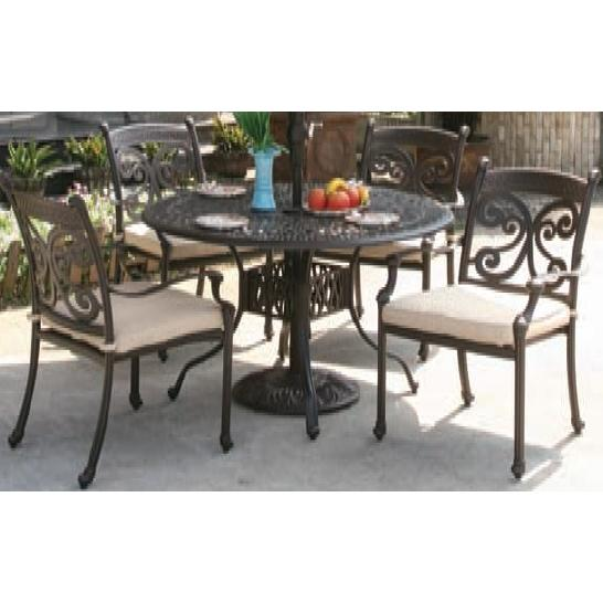 Alfresco Home Farfalla 48 Inch Round Dining Set - Antique Wine