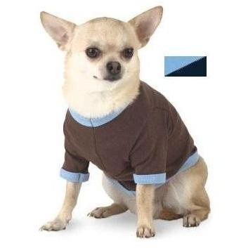 Doggie Skins Ringer T-Shirt Large - Light Blue/Navy