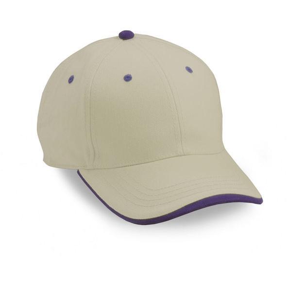 Cobra Caps Heavy Brushed Cotton Twill Cap - Stone / Purple, Discount ID PWS-1004