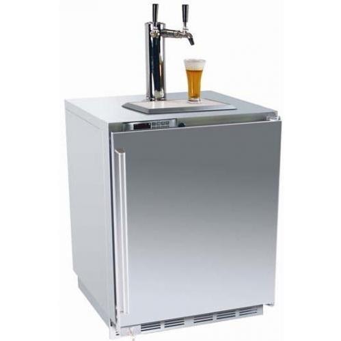 Perlick HP24TS-1L2 5.3 Cu. Ft. Capacity Dual Tap Kegerator / Refrigerator - Stainless Steel