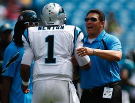 Cam Newton and Ron Rivera