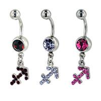 Body Jewelry - 316 L SURGICAL STEEL PURPLE CRYSTAL SAGITTARIUS BELLY NAVEL RINGS alternate image 2.