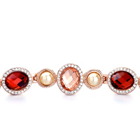 Bracelets - ALTERNATE OVAL SHELL INDIAN RED LIGHT PEACH SWAROVSKI SWAROVSKI CRYSTAL PEARL BRACELETS alternate image 1.