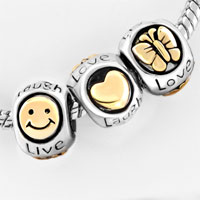 European Beads - GOLD PLATED BUTTERFLY SMILEY FACE LIVE LOVE LAUGH HEART LOBSTER CLASP FITS BEADS CHARMS BRACELETS FIT ALL BRANDS alternate image 1.