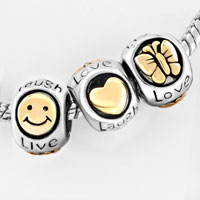 European Beads - GOLD PLATED BUTTERFLY SMILEY FACE LIVE LOVE LAUGH HEART LOBSTER CLASP FITS BEADS CHARMS BRACELETS FIT ALL BRANDS alternate image 2.