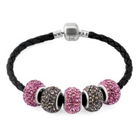 Man's Jewelry - PINK AND COFFEE BROWN CRYSTAL SHAMBALLA BEADS LEATHER BRACELET alternate image 1.