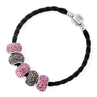 Man's Jewelry - PINK AND COFFEE BROWN CRYSTAL SHAMBALLA BEADS LEATHER BRACELET alternate image 2.