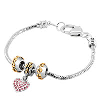 Charms Beads - MOM SILVER PLATED HEART PINK CRYSTAL GOLDEN FLOWER SET BEADS CHARMS BRACELETS FIT ALL BRANDS alternate image 1.