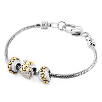 Charms Beads - MOM SILVER PLATED FLOWER BEAR HEART LOVE YOU SET BEADS CHARMS BRACELETS FIT ALL BRANDS alternate image 1.