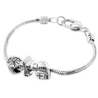 Charms Beads - SILVER PLATED CELTIC CROSS CROWN GUARDER SET BEADS CHARMS BRACELETS FIT ALL BRANDS alternate image 1.