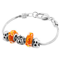 Charms Beads - YELLOW MURANO GLASS SILVER PLATED PUMPKIN GHOST SET BEADS CHARMS BRACELETS FIT ALL BRANDS alternate image 1.
